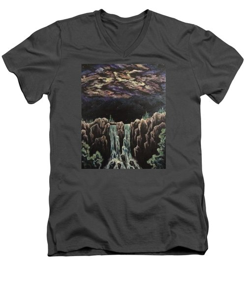 Men's V-Neck T-Shirt featuring the painting Milkyway by Cheryl Pettigrew