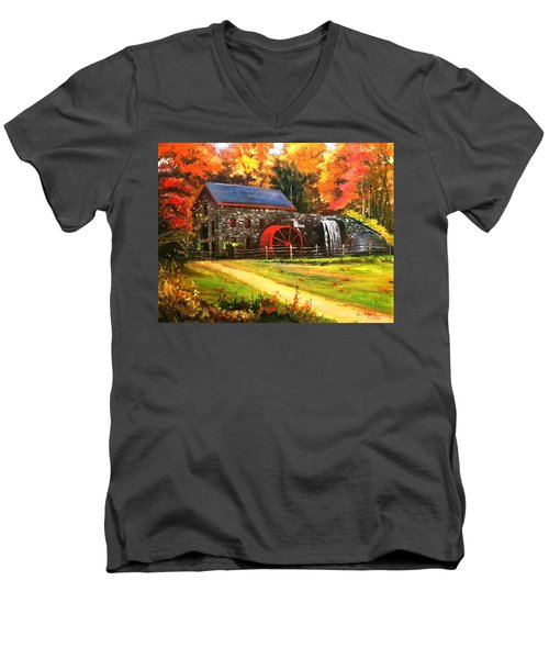 Men's V-Neck T-Shirt featuring the painting Mill House by Rose Wang