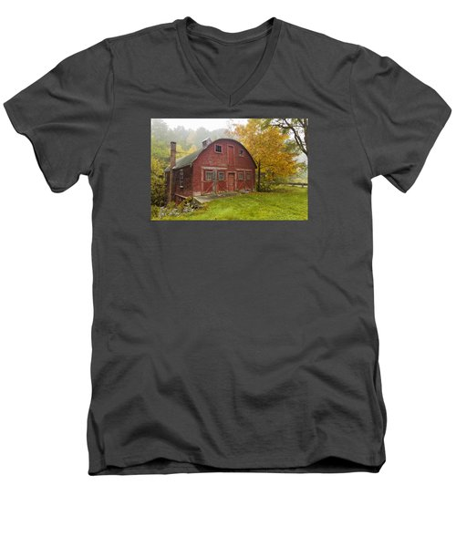 Men's V-Neck T-Shirt featuring the photograph Mill In Autumn by Tom Singleton