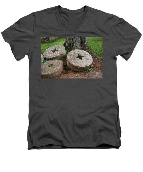 Mill Stone Men's V-Neck T-Shirt by Eric Liller