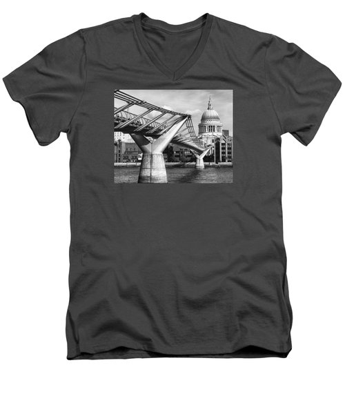 Men's V-Neck T-Shirt featuring the photograph Millennium Footbridge by Shirley Mitchell