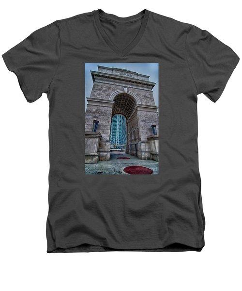 Millennium Gate Triumphal Arch At Atlantic Station In Midtown At Men's V-Neck T-Shirt by Alex Grichenko