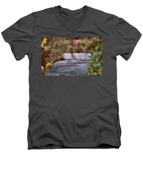 Men's V-Neck T-Shirt featuring the digital art Millstream by John Selmer Sr