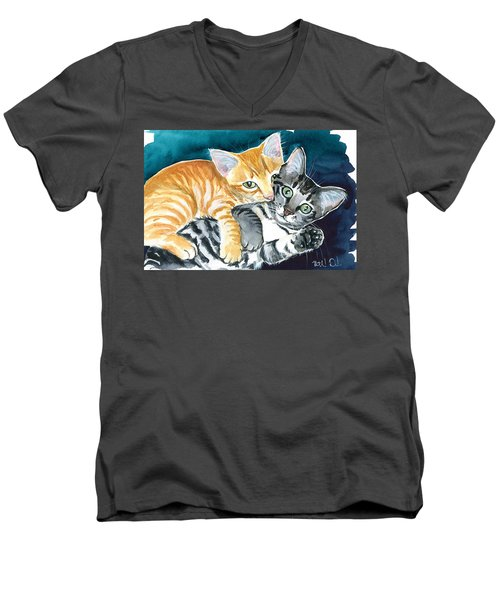 Milo And Tigger - Cute Kitty Painting Men's V-Neck T-Shirt