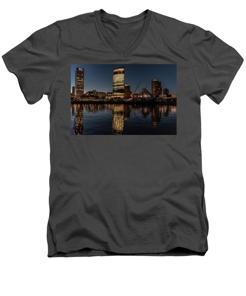 Men's V-Neck T-Shirt featuring the photograph Milwaukee Reflections by Randy Scherkenbach