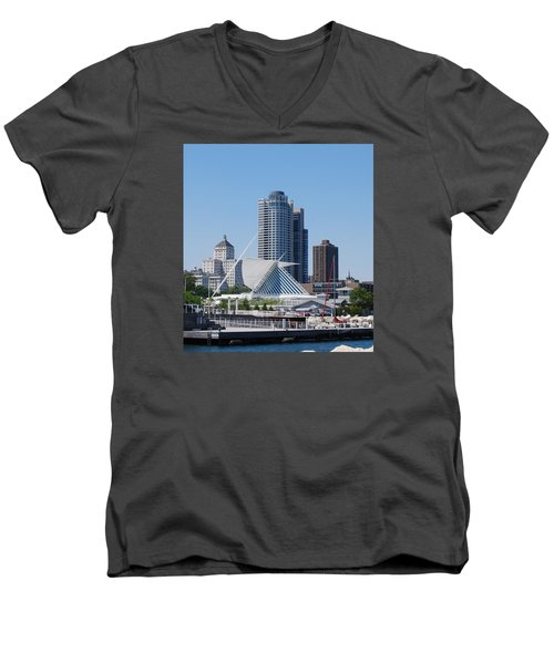 Men's V-Neck T-Shirt featuring the photograph Milwaukee, Wi Shoreline by Ramona Whiteaker