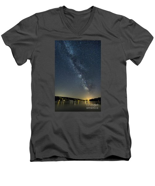 Milky Way From A Pontoon Boat Men's V-Neck T-Shirt by Patrick Fennell