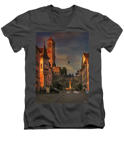 Men's V-Neck T-Shirt featuring the photograph Main Square by Hanny Heim
