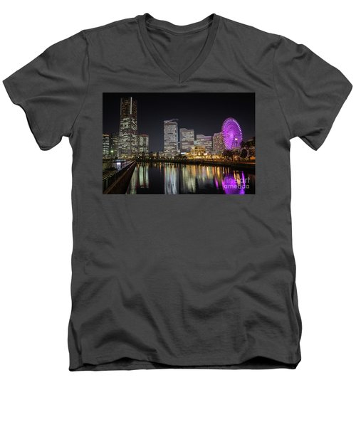 Minato Mirai At Night Men's V-Neck T-Shirt