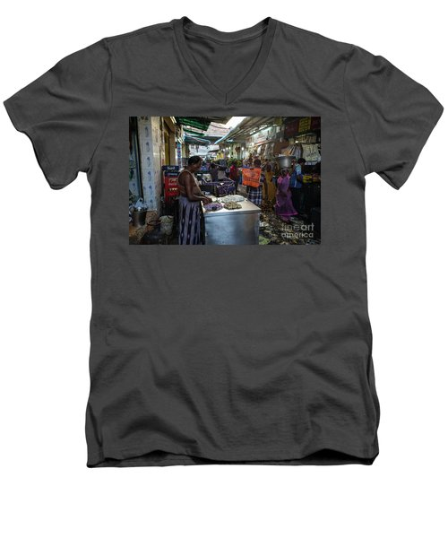 Men's V-Neck T-Shirt featuring the photograph Mincing Garlic by Mike Reid