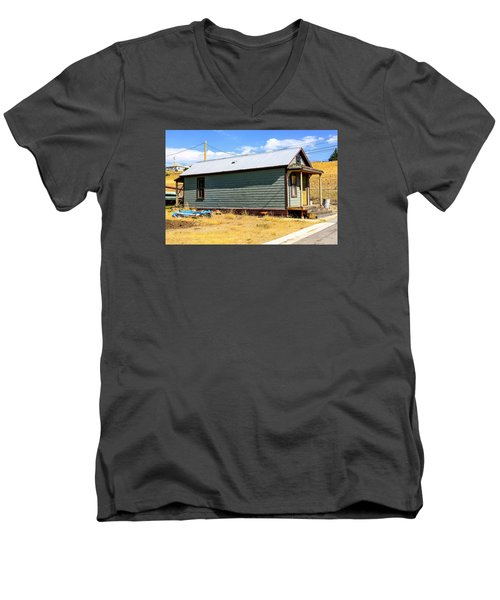 Miners Shack In Montana Men's V-Neck T-Shirt by Chris Smith
