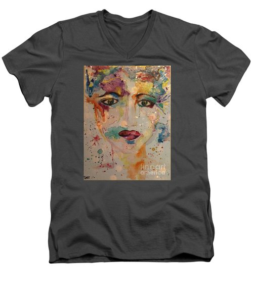Men's V-Neck T-Shirt featuring the painting Minerva by Denise Tomasura