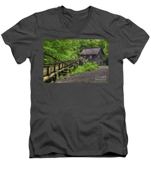 Men's V-Neck T-Shirt featuring the photograph Mingus Mill 2 Mingus Creek Great Smoky Mountains Art by Reid Callaway