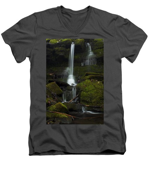 Mini Waterfall In The Forest Men's V-Neck T-Shirt
