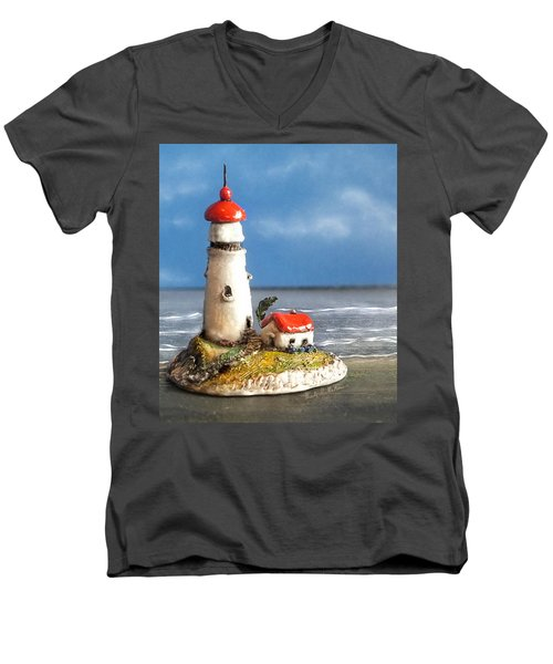 Miniature Lighthouse Men's V-Neck T-Shirt by Wendy McKennon