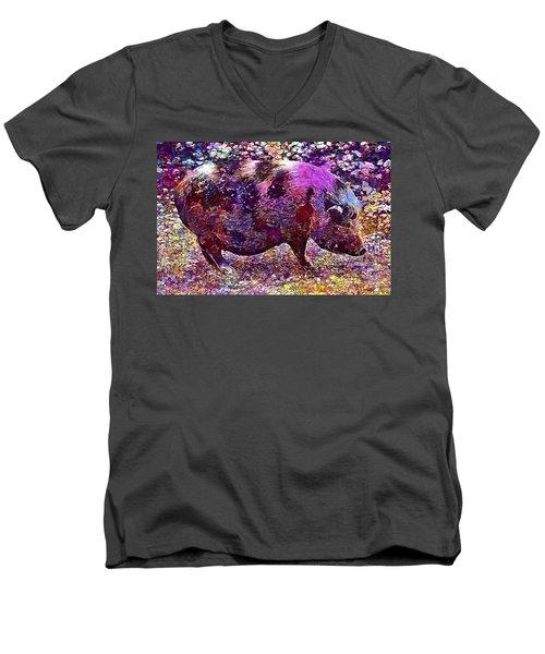 Men's V-Neck T-Shirt featuring the digital art Miniature Pig Pregnant Animal Pig  by PixBreak Art