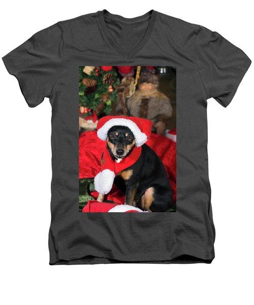Miniature Pinscher Wishing A Merry Christmas Men's V-Neck T-Shirt