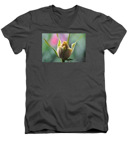 Miniature Rose Bud. Men's V-Neck T-Shirt by Terence Davis