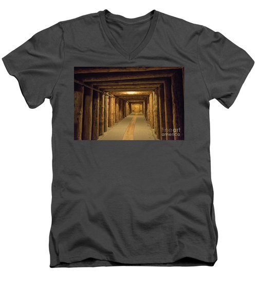 Men's V-Neck T-Shirt featuring the photograph Mining Tunnel by Juli Scalzi