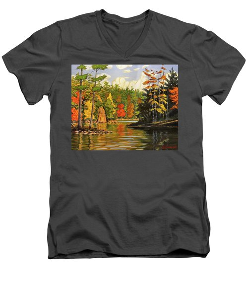 Mink Lake Narrows Men's V-Neck T-Shirt by David Gilmore