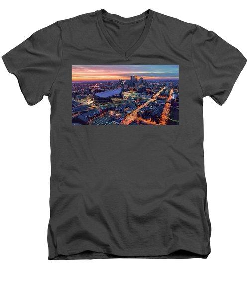 Minneapolis And Us Bank Stadium At Dusk Men's V-Neck T-Shirt