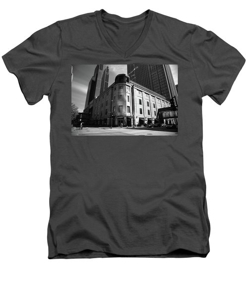 Men's V-Neck T-Shirt featuring the photograph Minneapolis Downtown Bw by Frank Romeo