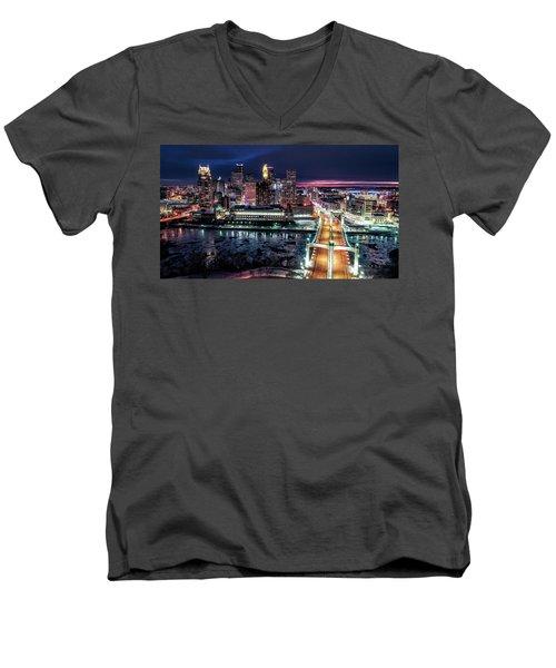 Minneapolis Skyline From The Mississippi River Men's V-Neck T-Shirt