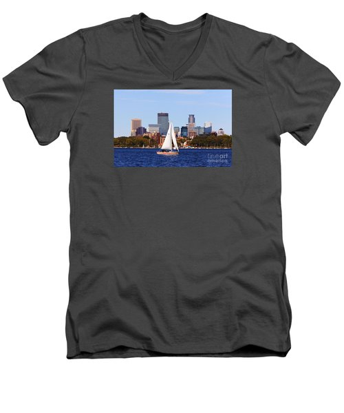 Minneapolis Skyline Lake Calhoun Sailing Men's V-Neck T-Shirt