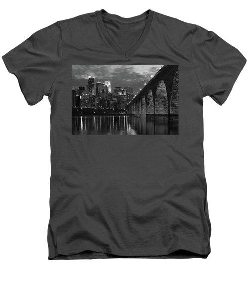 Minneapolis Stone Arch Bridge Bw Men's V-Neck T-Shirt