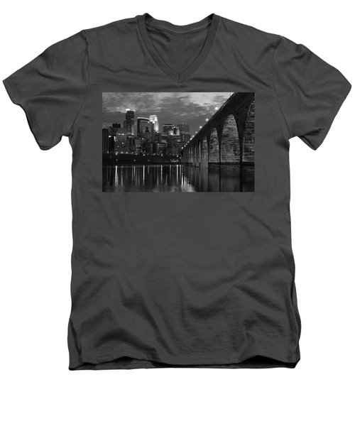 Minneapolis Stone Arch Bridge Bw Men's V-Neck T-Shirt
