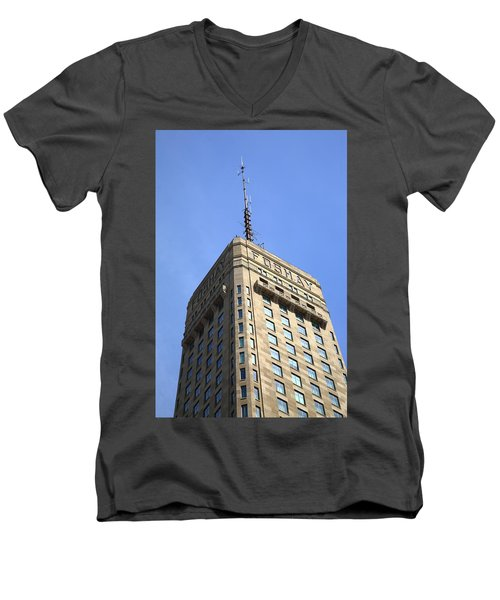 Men's V-Neck T-Shirt featuring the photograph Minneapolis Tower 6 by Frank Romeo