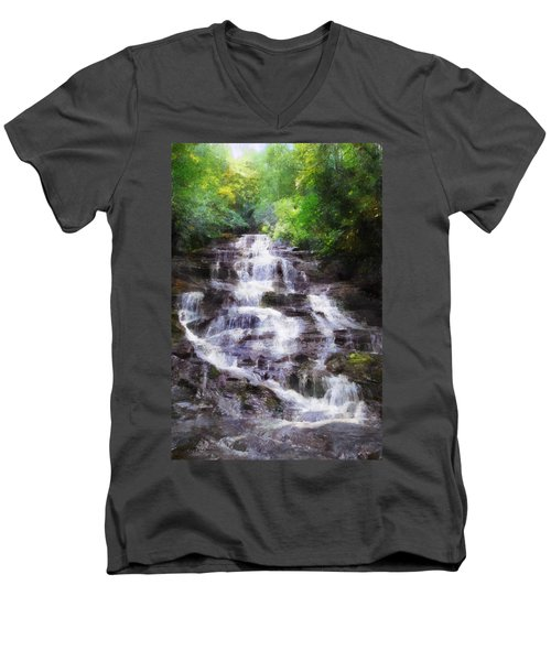 Minnehaha Falls Summer Men's V-Neck T-Shirt by Francesa Miller
