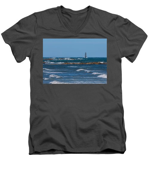 Minot Lighthouse Wave Crash Men's V-Neck T-Shirt