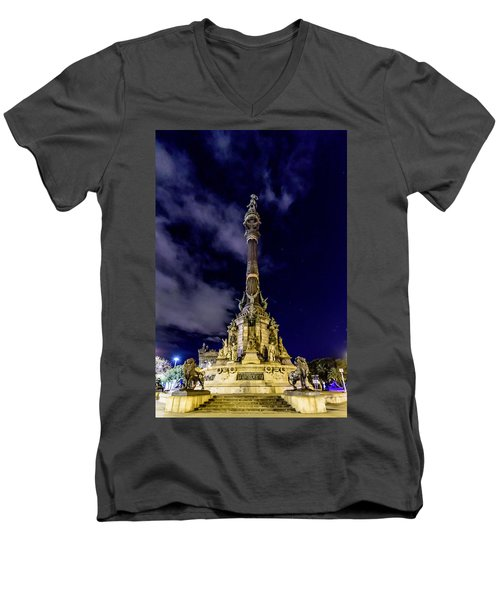 Mirador De Colom Men's V-Neck T-Shirt by Randy Scherkenbach