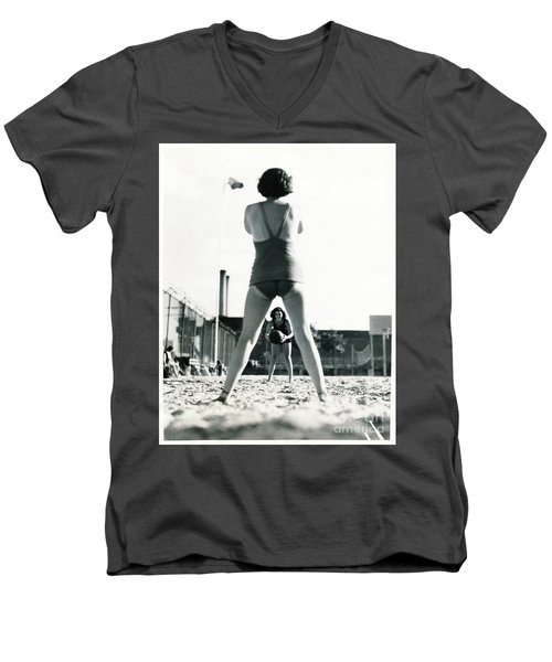 Men's V-Neck T-Shirt featuring the photograph Miramar Pool, 1932 by Cole Thompson