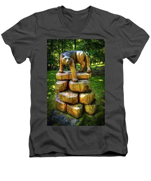 Men's V-Neck T-Shirt featuring the photograph Mirnie's Cougar Sculpture by David Patterson