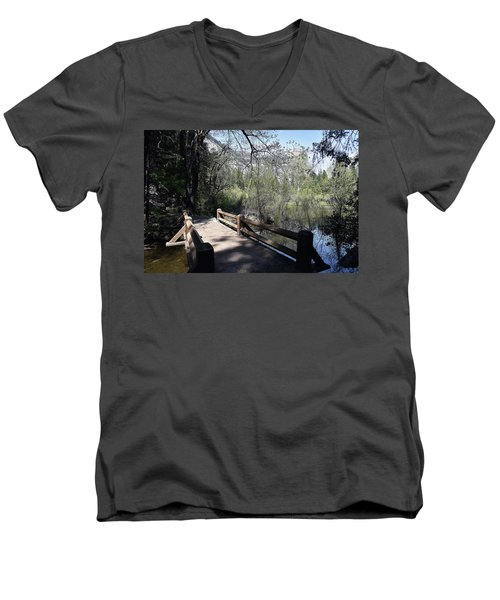 Mirror Lake At Yosemite National Park Men's V-Neck T-Shirt
