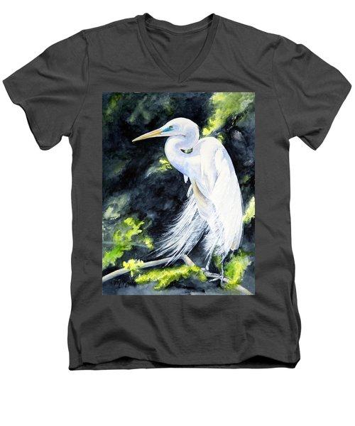 Miss April - Great Egret Men's V-Neck T-Shirt