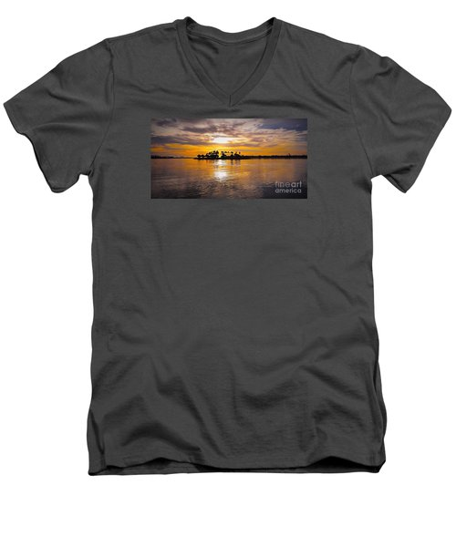 Mission Bay Purple Sunset By Jasna Gopic Men's V-Neck T-Shirt