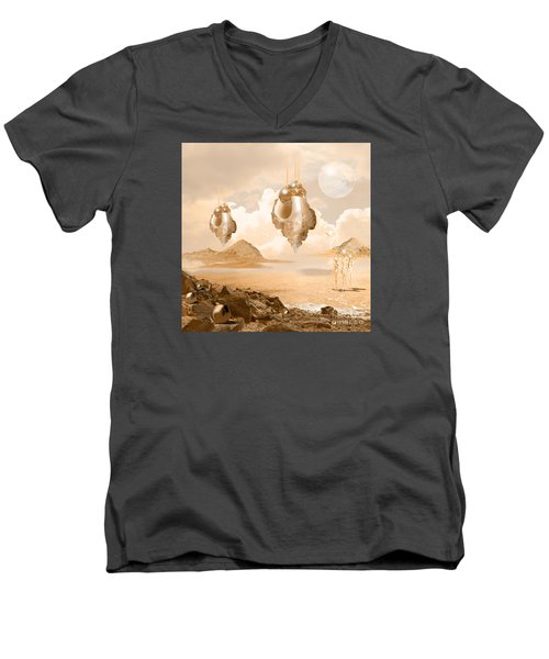 Men's V-Neck T-Shirt featuring the digital art Mission In A Far Planet by Alexa Szlavics