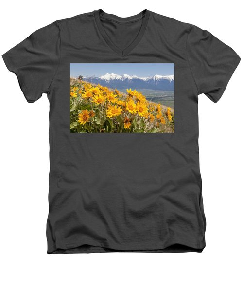 Mission Mountain Balsam Blooms Men's V-Neck T-Shirt by Jack Bell