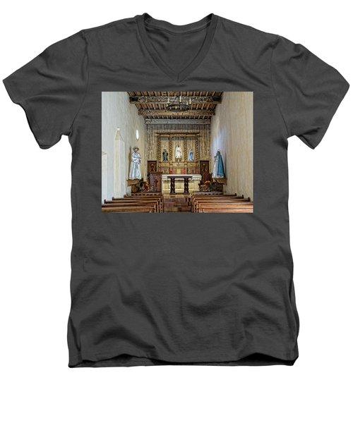 Men's V-Neck T-Shirt featuring the photograph Mission San Juan Capistrano Sanctuary - San Antonio by Stephen Stookey