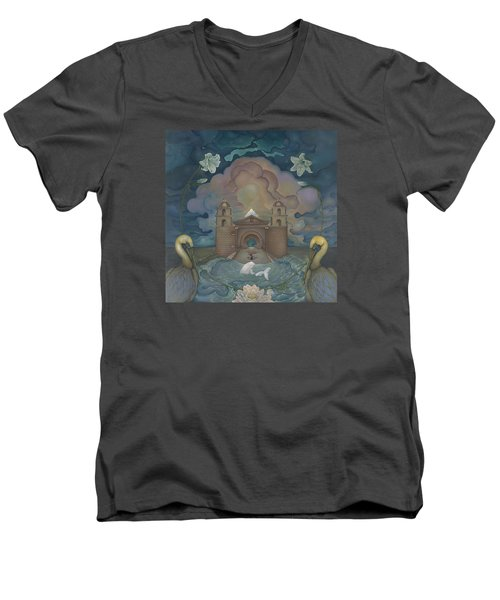 Mission Santa Barbara Men's V-Neck T-Shirt by Andrew Batcheller
