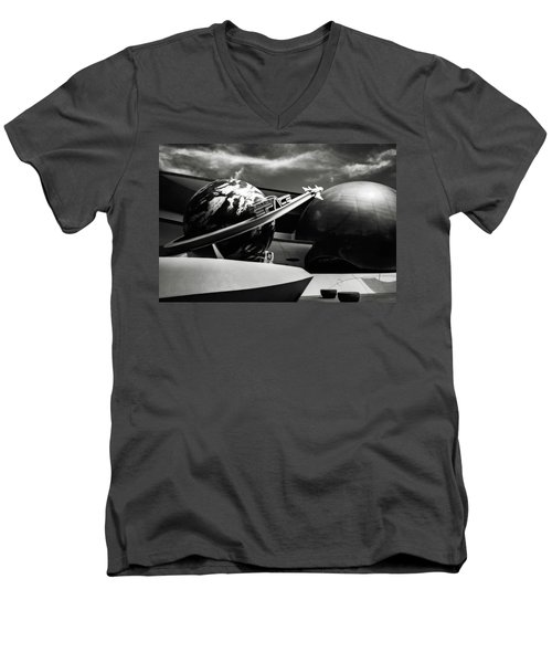 Mission Space Black And White Men's V-Neck T-Shirt by Eduard Moldoveanu