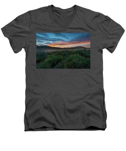 Mission Trails Poppy Sunset Men's V-Neck T-Shirt
