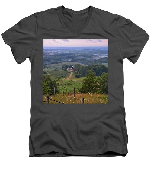 Mississippi River Valley 2 Men's V-Neck T-Shirt by Bonfire Photography