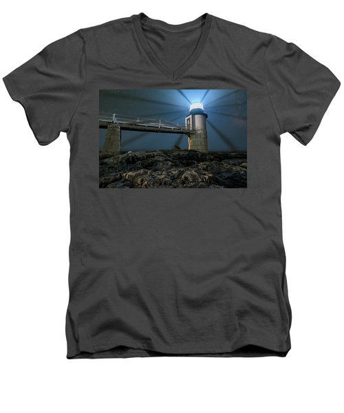 Mist At Marshall Point Light Men's V-Neck T-Shirt