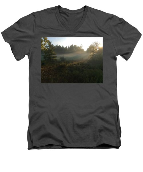 Mist In The Meadow Men's V-Neck T-Shirt by Pat Purdy
