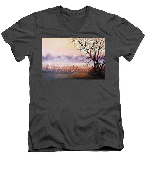 Mist On The River Men's V-Neck T-Shirt