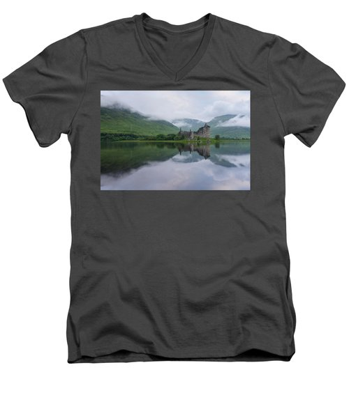 Mist Swarms Around Kilchurn Castle Men's V-Neck T-Shirt